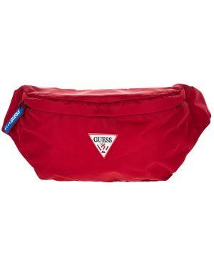 Поясная сумка текстильная красная Guess