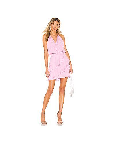 Платье мини розовое с запахом Parker
