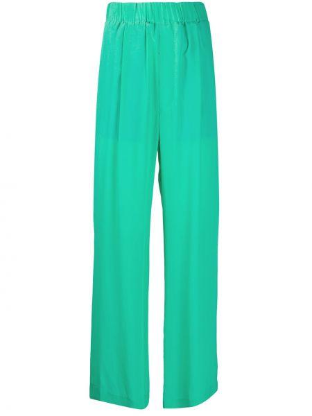 Шелковые зеленые свободные брюки свободного кроя с поясом Jejia