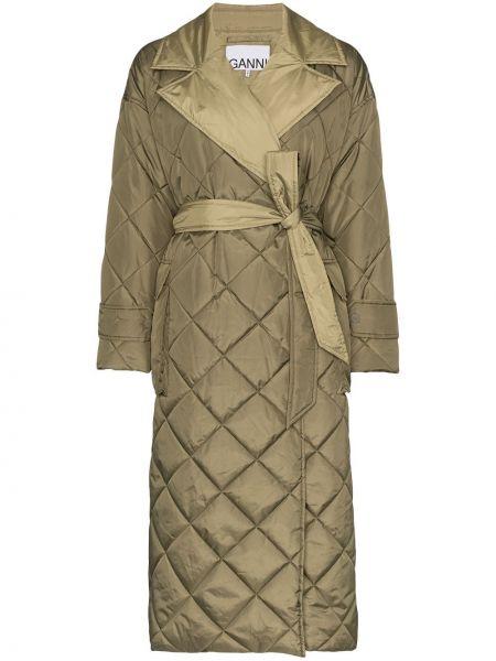 Длинное пальто с капюшоном с лацканами Ganni