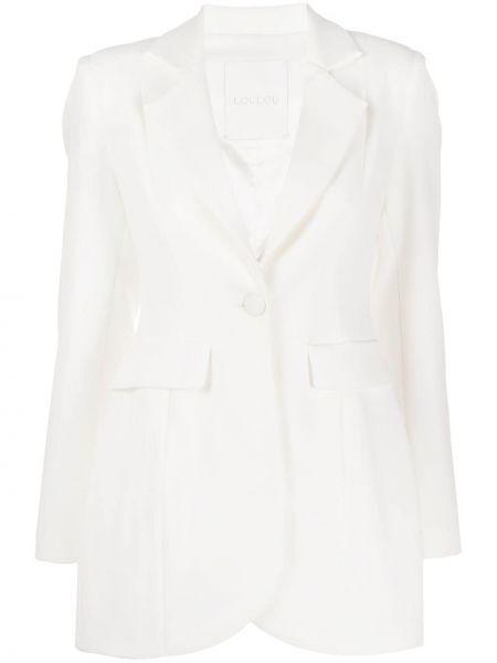 Однобортный приталенный белый удлиненный пиджак Loulou