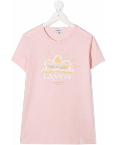 Хлопковая розовая футболка с короткими рукавами с круглым вырезом Lanvin Enfant