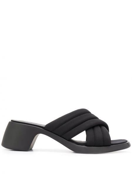 Czarne sandały skorzane peep toe Camper