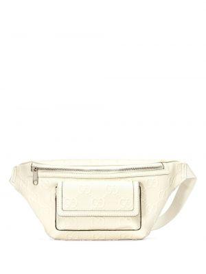 Biały pasek skórzany z paskiem Gucci