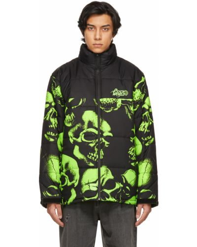Czarna długa kurtka pikowana z haftem Psychworld
