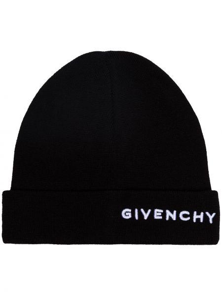 Czarny czapka beanie wełniany z haftem Givenchy