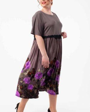 Платье серое с цветочным принтом Wisell