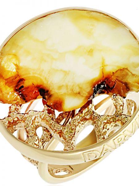 Золотистое белое кольцо позолоченное с декоративной отделкой Darvin