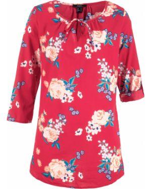 Блузка с длинным рукавом с цветочным принтом красная Bonprix
