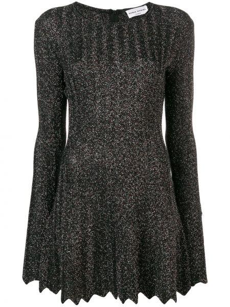 С рукавами шерстяное черное платье макси Sonia Rykiel