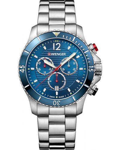Часы водонепроницаемые швейцарские синий Wenger
