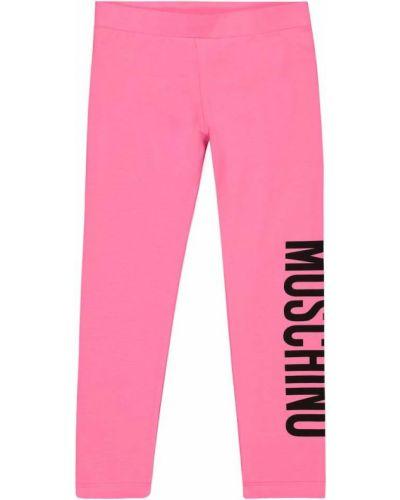 Różowe legginsy bawełniane Moschino Kids