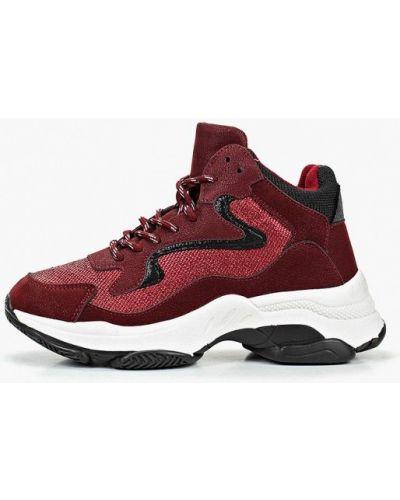 Кожаные высокие кроссовки - бордовые Dino Albat