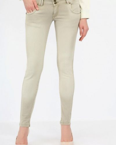 Бежевые джинсы-скинни с пайетками Alcott