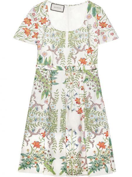 Biały bawełna sukienka midi krótkie rękawy okrągły dekolt Gucci