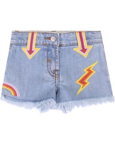 Джинсовые шорты с бахромой с вышивкой Stella Mccartney