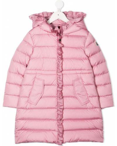 Розовое пуховое пальто классическое с капюшоном Moncler Kids