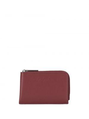 Кожаный красный кошелек на молнии со шлицей Discord Yohji Yamamoto
