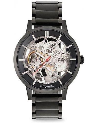 Czarny zegarek mechaniczny srebrny Kenneth Cole New York