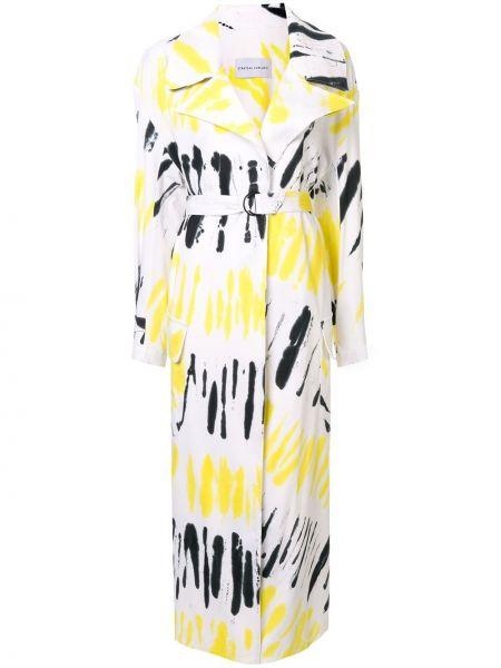 Желтое свободное пальто с поясом свободного кроя Strateas Carlucci