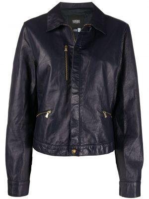 Синяя куртка на молнии байкерская с воротником Versace Pre-owned