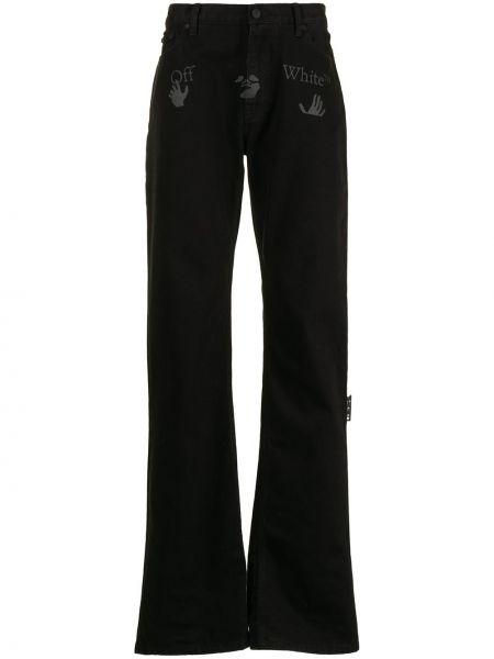 Czarny klasyczny jeansy z łatami z kieszeniami Off-white