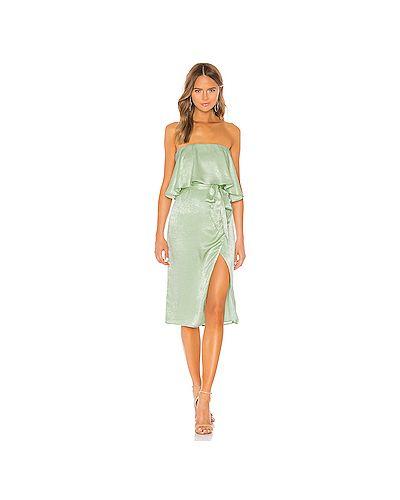 Платье с поясом на молнии зеленый Lovers + Friends