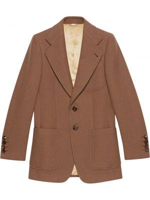 Шерстяной с рукавами коричневый удлиненный пиджак Gucci