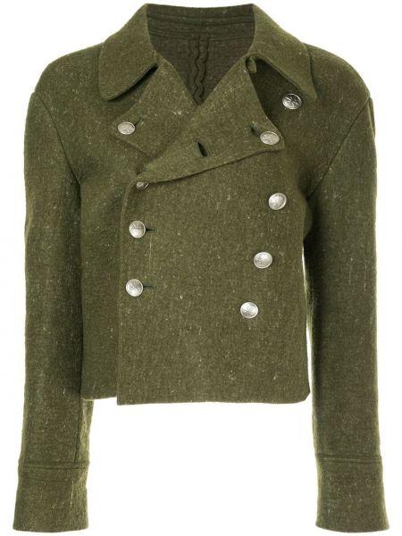 Шерстяная зеленая прямая куртка винтажная Yohji Yamamoto Pre-owned