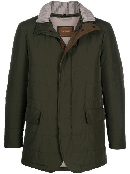 Зеленая длинная куртка для полных с воротником Doriani Cashmere