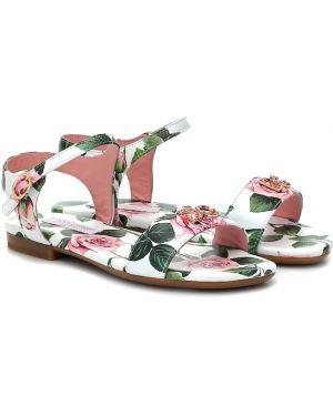 Skórzany sandały żółty Dolce & Gabbana Kids