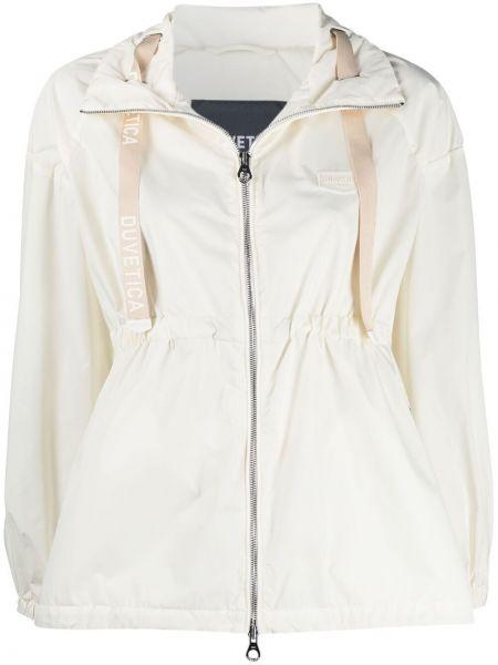 Белая куртка на молнии с поясом Duvetica