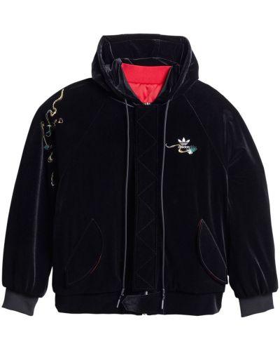 Markowe czarny długa kurtka z kapturem Adidas