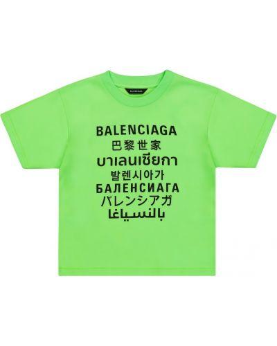 Zielony t-shirt bawełniany Balenciaga Kids