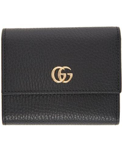 Skórzany portfel na monety złoto prążkowany z gniazdem Gucci