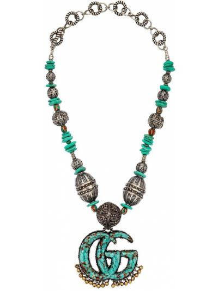 Naszyjnik srebrny turkusowy Gucci