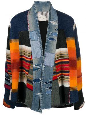 Шерстяной вязаный синий удлиненный пиджак Greg Lauren