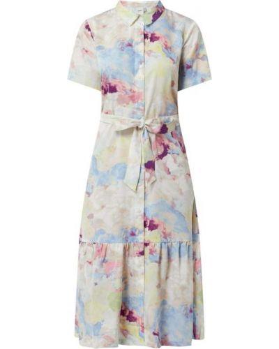 Biała sukienka midi rozkloszowana Ichi