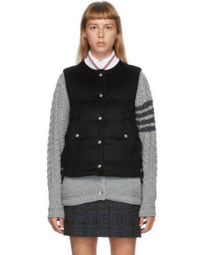 Шерстяная черная стеганая жилетка с воротником с карманами Thom Browne
