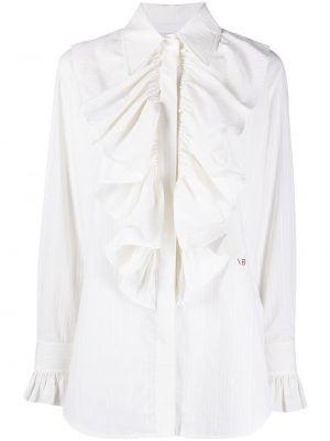 С рукавами белая классическая рубашка в полоску Victoria Beckham