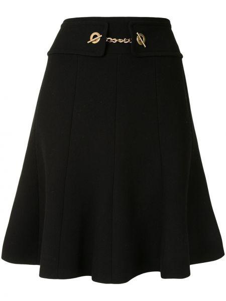 Шерстяная черная юбка мини Edward Achour Paris