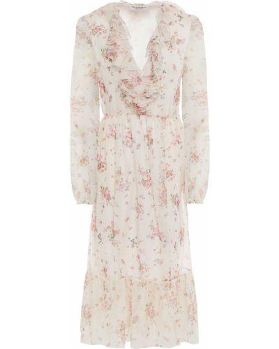 Текстильное бежевое платье миди с принтом Philosophy Di Lorenzo Serafini