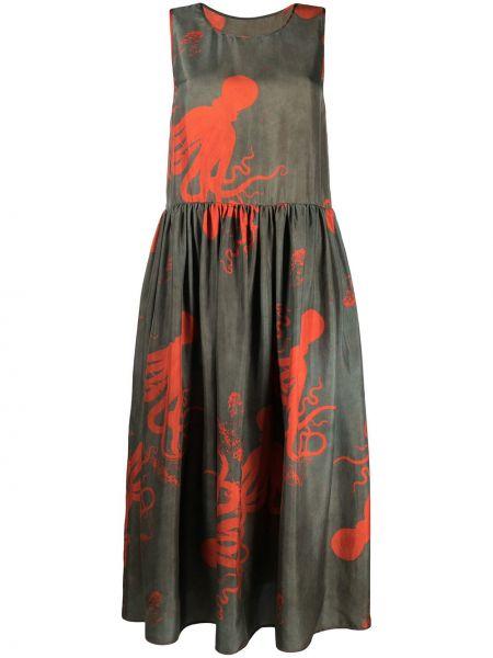 Шелковое зеленое платье миди без рукавов Uma Wang