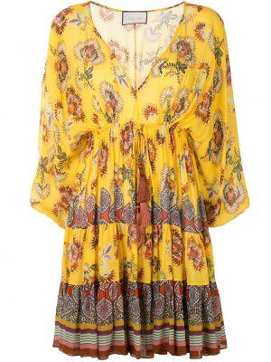 Желтое плиссированное платье с V-образным вырезом с кисточками Alexis