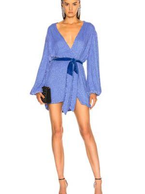 Niebieska sukienka na imprezę koronkowa kopertowa Retrofete