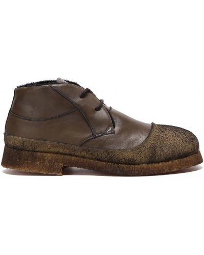 Зеленые кожаные ботинки на шнуровке Rocco P.