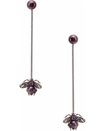 Серьги с жемчугом с аметистом серебряные Axenoff Jewellery