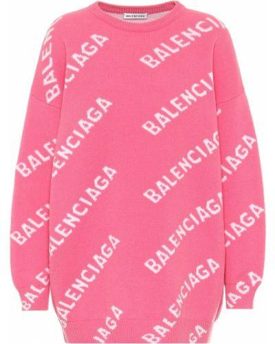 Różowy wełniany sweter przeoczenie Balenciaga