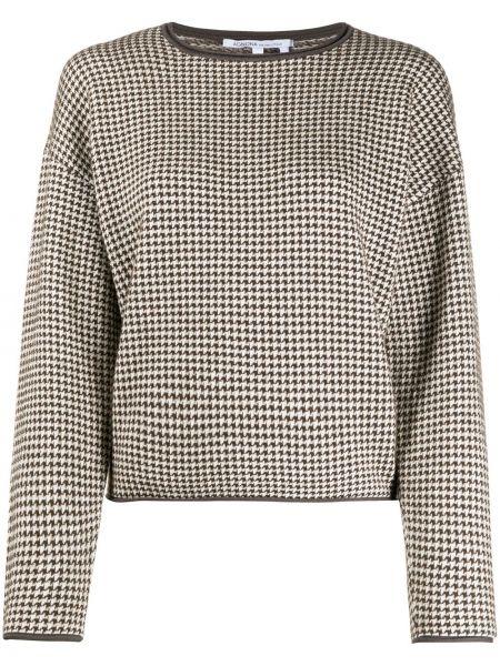 Шелковый коричневый пуловер с декоративной отделкой круглый Agnona