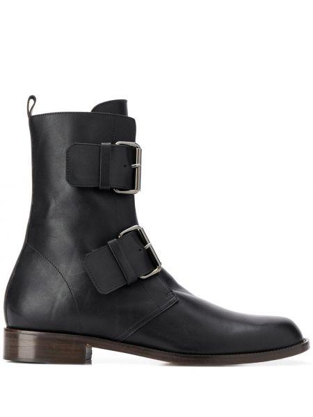 Черные ботинки на каблуке на каблуке с пряжкой круглые Michel Vivien